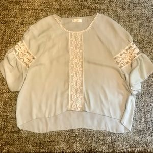 Baby Blue Boutique Top w/ Lace Detail